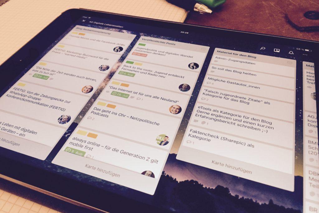 Das Trello-Board zum Blog Digitale Lebenswelten